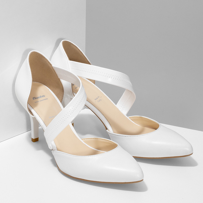 Pointed white pumps with an instep strap bata, white , 724-1904 - 26
