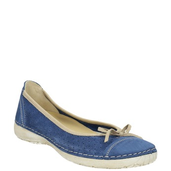 Casual leather ballerinas weinbrenner, blue , 526-9503 - 13