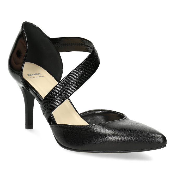 Leather pumps with T-strap, black , 724-6904 - 13