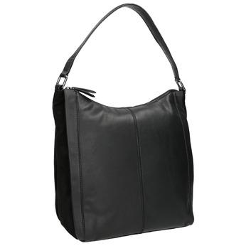 Hobo-style black leather handbag bata, black , 964-6254 - 13