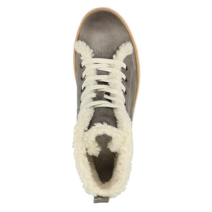 Leather ankle-cut sneakers with fur weinbrenner, gray , 596-2627 - 19