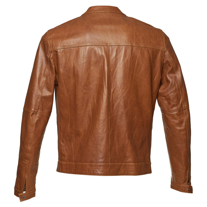 Men's leather jacket with trendy quilting, brown , 974-3142 - 26