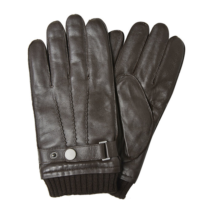 Men's leather gloves bata, brown , 904-4127 - 13