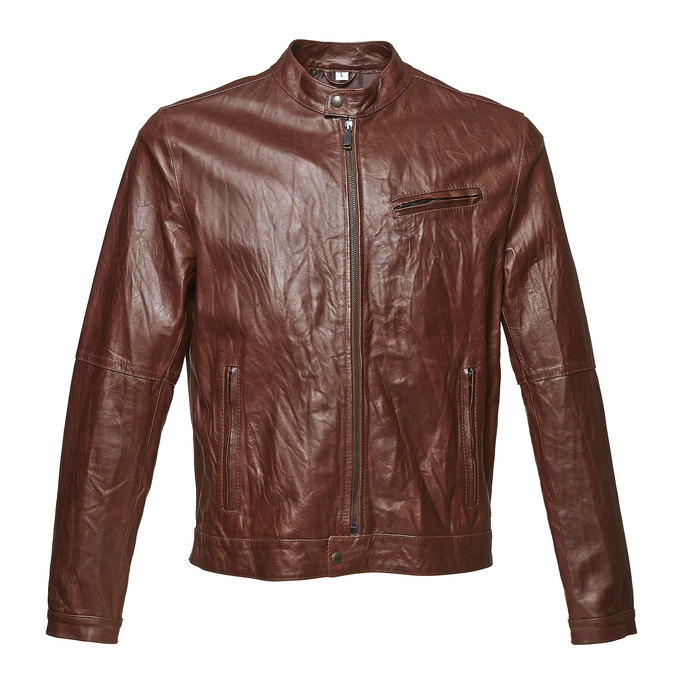 Women's leather jacket with trendy quilting bata, brown , 974-4142 - 13
