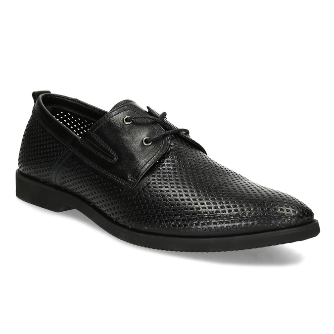 Leather shoes with perforations, black , 854-6601 - 13