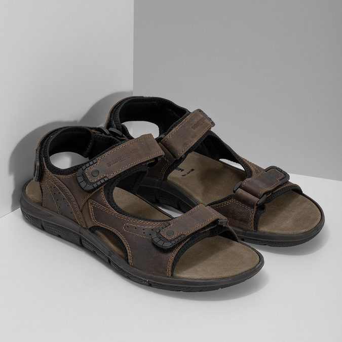 Leather sandals with Velcro fasteners, 866-4631 - 26