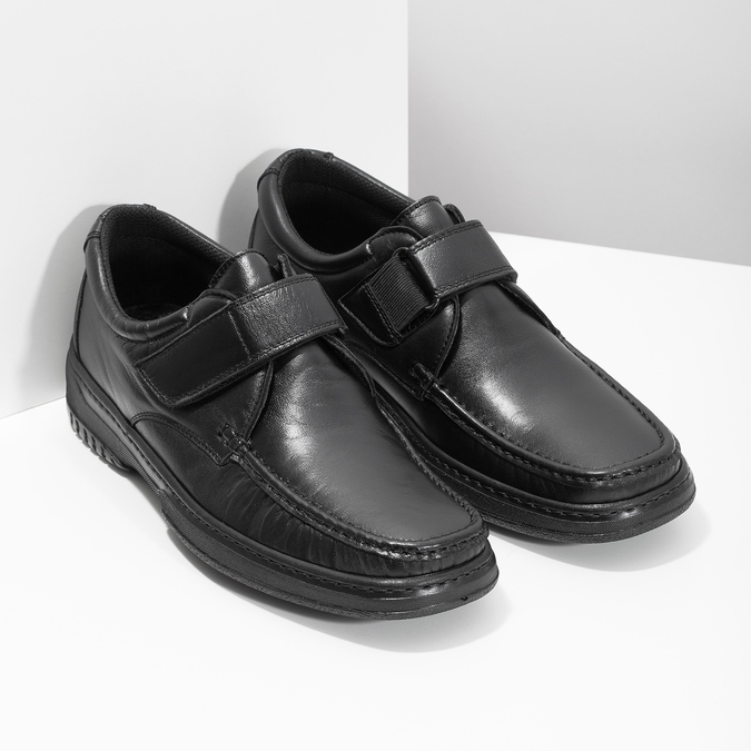 Men's leather shoes with Velcro, black , 824-6543 - 26