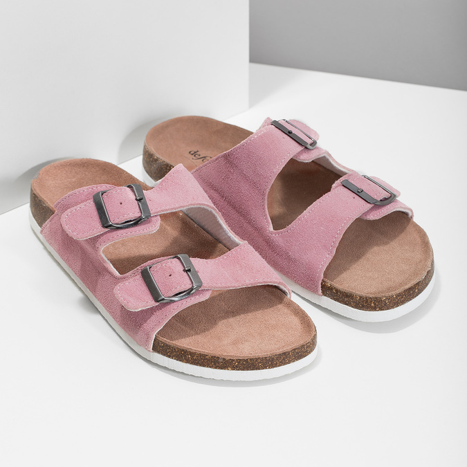 Ladies' leather sandals, pink , 573-5621 - 26