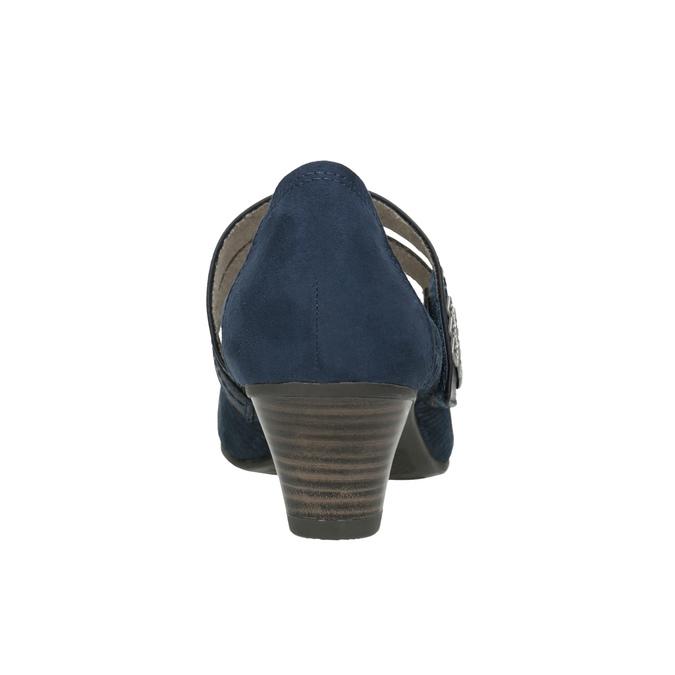Blue leather pumps width H bata, blue , 623-9600 - 16
