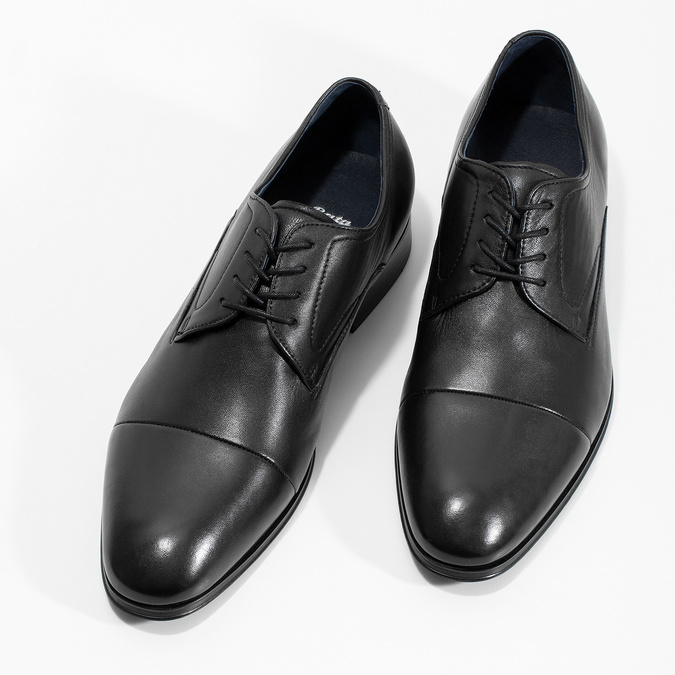 Men's leather Derby shoes, black , 824-6406 - 16