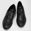 Leather shoes with perforations, black , 854-6601 - 16