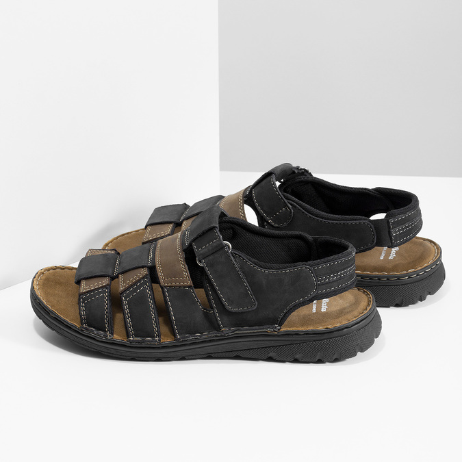 Men's leather sandals bata, brown , 866-4610 - 16